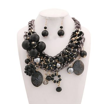 Chunky Chain Black Pearl, Crystal, and Bead Charm Necklace Set
