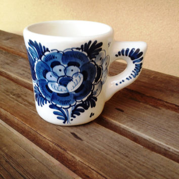 Vintage Blue Delft Mug, Holland DELFT Mug, White and Blue coffee Mug, Handpainted Delft Mug, Delft Floral Mug