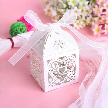 Popular Beauty 50 PCS Love Candy Gift Boxes With Ribbon Wedding Party Favor [7983470791]