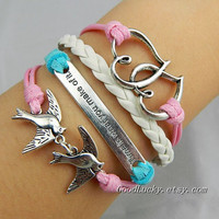 "Valentine's Gift.Silver Telesthesia, ""Time is what you make of it""and bird bracelet--pink,blue wax rope and white Leather braided bracelet"