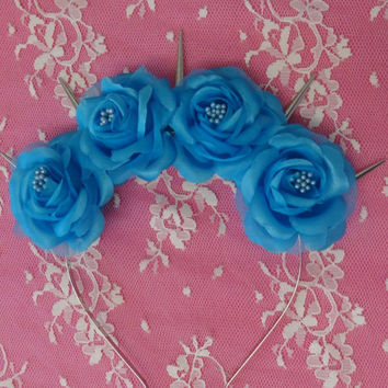 Sapphire- pastel goth flower crown with silver spikes