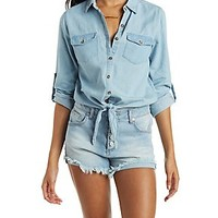 Tie Front Chambray Button-Up Top