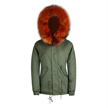 Raccoon Fur Collar Parka Jacket Orange