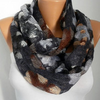 ON SALE - Knitted Scarf  - Cowl  Scarf - Multicolor - Gray Tones - fatwoman