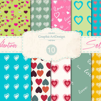 """Love Digital Scrapbook Paper Pack 03 : """"LOVE"""" Heart Patterns - Perfect for valentine 's day - Personal and Commercial Use - Instant Download"""