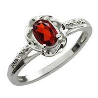 Garnet Oval Diamond Ring .925 Sterling Silver Rhodium Plated White Gold Quality