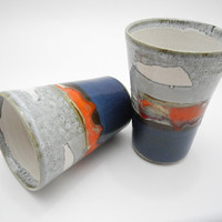 Ceramic Tumblers - Drinking Cups,  Grey Blue and Red