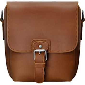 ZLYC Vintage Leather Camera Bag DSLR SLR Messenger Shoulder Bag with Removable Padded, Dark Brown