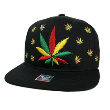 * Weed Embroidered Cap In Black