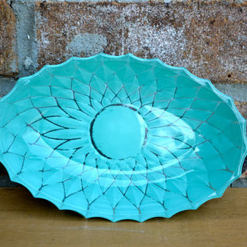 Depression Glass oval bowl upcycled 40s 50s distressed aqua candy dish modern home decor bright housewares christmas gift