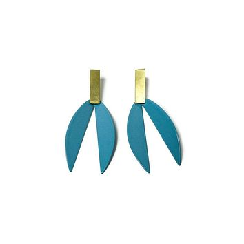 Lotus Earrings in Vintage Teal and Brass