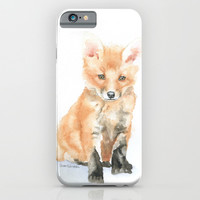 Baby Fox Watercolor Painting - Woodland Animal iPhone & iPod Case by Susan Windsor