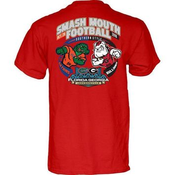 ICIKG8Q NCAA Georgia Bulldogs vs Florida Gators Smash Mouth Football Game Day Red T Shirt