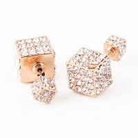Double-Sided Cube Earrings (Gold)