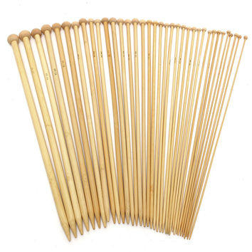 Useful 36PCS 18 Sizes 36cm Single Pointed Bamboo Knitting Needles Set Kit 2.0mm - 10.0mm PK Smooth Crochet Tool Chinese Style