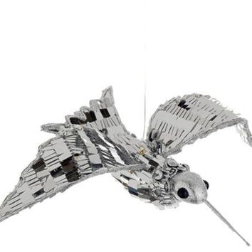MDIGMS9 7.5' Sparkling Silver Sequin Hummingbird Christmas Ornament