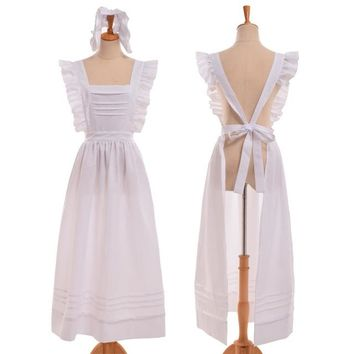 Victorian Edwardian Style Servant Maid Cosplay Cotton Housekeeper Apron with Headpiece