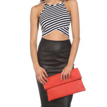 Monochrome Stripe Spaghetti Strap Crop Top