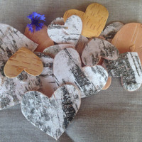 25 Natural Real Rustic Birch Tree Bark Hearts, Natural Birch Tree Bark Hearts Different Sizes, Vintage Birch Bark Hearts, Wedding Decor