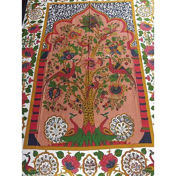 Cotton Tree of Life Floral Tapestry Peacock Tablecloth Rectangular Red Green