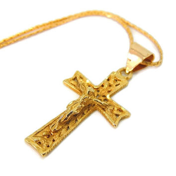 14k Gold Filigree Cross Chain Necklace