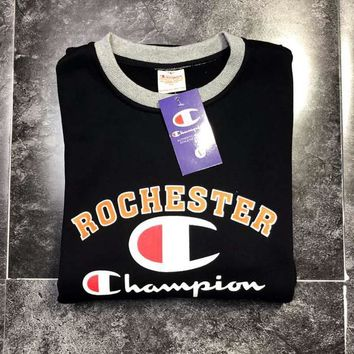 Champion Autumn And Winter New Fashion Bust Letter Print Contrast Color Long Sleeve Sweater Top High Quality Black
