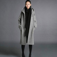Fashion Womens Long Winter Wool blend Coat Hooded Loose Thick Jacket Parka