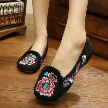 US SIZE Fashion Chinese Style Old Beijing Loafer Flats With Tassel Embroidered Shoes R