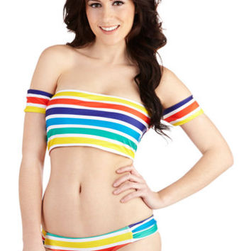 Beach Riot 80s Rainbow Cove Swimsuit Top