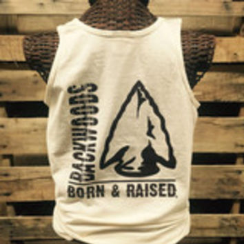 Backwoods Born & Raised Arrowhead Comfort Colors Bright Unisex Tank Top