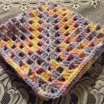 Crocheted Baby Baby Doll Afghan Security Blanket Soft Yarn Granny Square 16 Inch Square