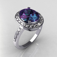 Classic 14K White Gold 30 CT Oval Alexandrite 045 by artmasters