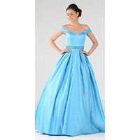 Turquoise Off The Shoulder Rhinestones Pleated Waist A-Line Satin Ball Gown