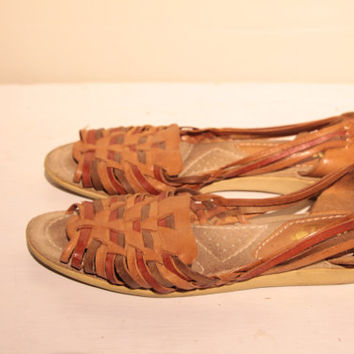 Leather Sandals Size 7 Brown Huaraches - Leather Woven Sandals / Flats - Size 7 AA Women