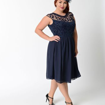 Plus Size Navy Blue Dorothy Chiffon Swing Flapper Dress