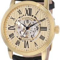 Stuhrling Original Men's 1077.333531 Classic Delphi Venezia Automatic  Skeleton Stainless Steel Watch with Leather Band