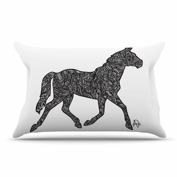 "Adriana De Leon ""Horsie"" Horse Illustration Pillow Case"