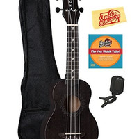Luna Vintage Mahogany Soprano Ukulele Bundle with Gig Bag, Tuner, Austin Bazaar DVD, and Polishing Cloth - Black Satin