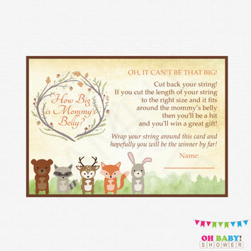 Woodland Baby Shower, How Big is Mommys Belly, Baby Shower Games, Pregnant Belly, Woodland Animals, Rustic Baby Shower, Printable WD01