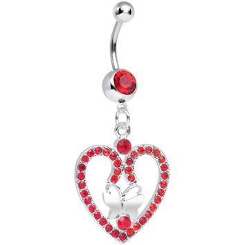 Red Gem Heart Wreathed Butterfly Dangle Belly Ring
