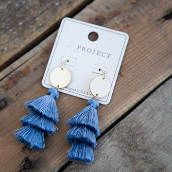Tiered Thread Tassel Earring, Blue