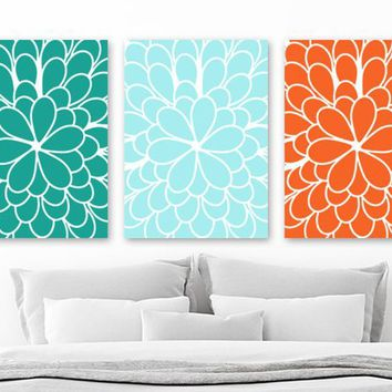 Teal Orange Flower WALL Art, CANVAS or Print, Teal Orange Aqua Flower Bedroom Wall Decor, Teal Aqua Orange Flower Bathroom Artwork Set of 3