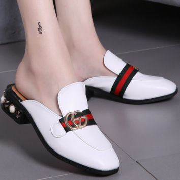 GUCCI New fashion summer pearl slippers sandals shoes White