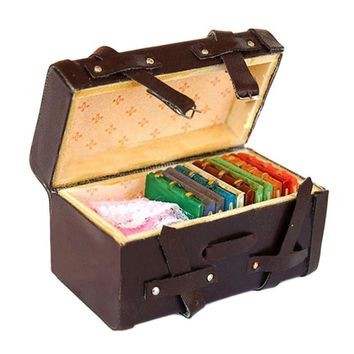 Best Sale 1:12 Doll house Miniature Vintage Leather Wood Suitcase Mini Luggage Box