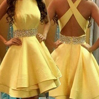 Yellow A-Line Crystal Cocktail Gowns Crossed Back Homecoming Gowns