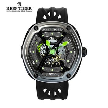 Reef Tiger Luxury Brand Watches Men Dive Sport Waterproof Luminous Nylon/Leather/Rubber Strap Automatic Creative Design Watch