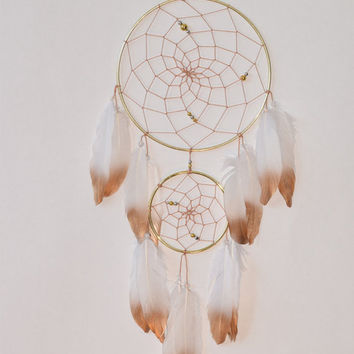 Large Dream catcher, White and  Gold Dreamcatcher, Gold Metal Feathers Decor, White Gold Nursery Decor, Baby Shower Gift, Wedding gift