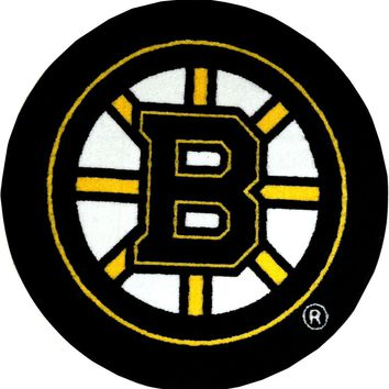 NHL Boston Bruins Hockey Puck Shaped Round Accent Rug