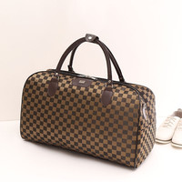Fashion Nylon Coffee Plaid Women Luggage Travel Bags