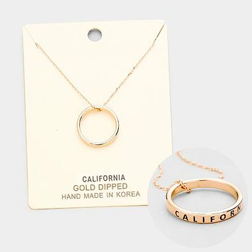 """""""California"""" Gold Dipped Ring Pendant Necklace"""